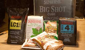 A sampling of different sizes of Sun Gro's  peat moss products packaged at the  company's Lameque plant.