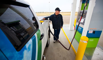 Filling up at Encana's new CNG station in Strathmore, Alta. Photo: Encana
