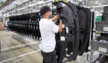 Instrument panel production at Faurecia's Fraser, Mich. plant