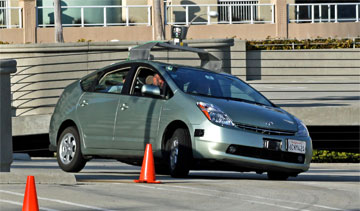 "The Google ""driverless"" prius. PHOTO: Jurvetson (flickr)"