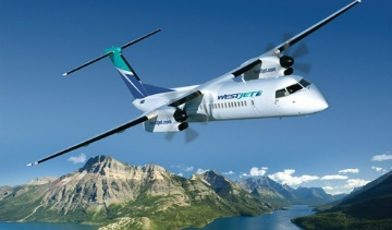Fuel-efficient Q400 turboprop in flight. Photo: Bombardier