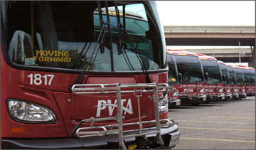 A line of new New Flyer Xcelsior XDE40 diesel-electric buses for the Pioneer Valley Transit Authority of Springfield, Mass. PHOTO New Flyer