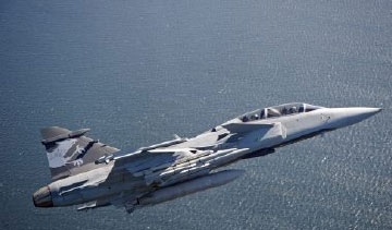 The 14-ton SAAB Gripen fighter has a top speed of Mach 2. PHOTO: Stefan Kalm for SAAB AB