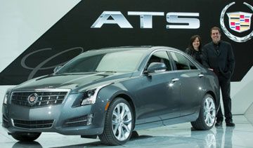 The Cadillac ATS, with General Motors vice-president of Global Product Development Mary Barra (left) and GM North America President Mark Reuss. Photo: John F. Martin for Cadillac