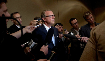 Saskatchewan Premier Brad Wall addresses reporters at the PNWER Summit in July 2012. Copyright © Government of Saskatchewan. All rights reserved.