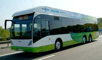 This Van Hool bus powered by Ballard FCvelocity-HD6 fuel cell module. PHOTO Ballard Power Systems