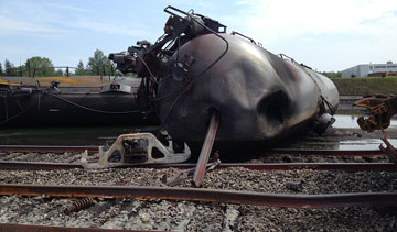 The deadly rail disaster that devastated an eastern Quebec town will drive the cost to ship oil by rail up, according to credit rating agency Moody's. PHOTO Transportation Safety Board of Canada