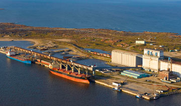 Two companies owned by Omnitrax—Hudson Bay Railway and Hudson Bay Port Co.—are hoping to ship crude oil by rail through the Port of Churchill, Canada's only Arctic deep-water seaport. PHOTO Omnitrax
