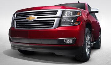 The 2015 Chevrolet Tahoe (pictured) and Suburban, and GMC Yukon and Yukon XL won't share a front fascia with their pickup truck counterparts when they go on sale in 2014. PHOTO General Motors