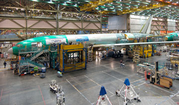 Orders to American factories rose in September after two months of declines on a big jump in demand for commercial aircraft. PHOTO Boeing