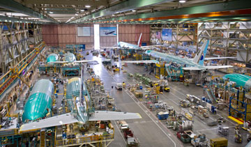 Boeing produces its 777 on a moving assembly line in Everett, Wash. PHOTO Boeing