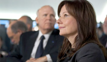 Mary Barra, seen here with former CEO Dan Akerson, started with GM as an engineering co-op student in 1980. PHOTO: General Motors Corp.