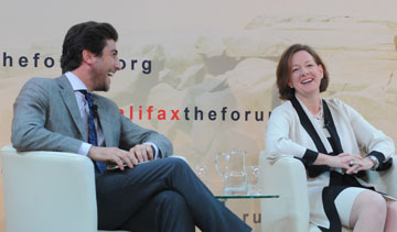 NATO's Fabrice Pothier (left) and Alberta Premier Alison Redford at the 2012 Halifax Forum. PHOTO Halifax International Security Forum
