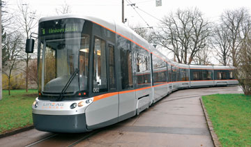 Known as Cityrunners, Bombardier's FLEXITY low-floor trams have been operating in Linz, Austria, since 2001. PHOTO Bombardier