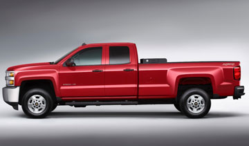 Chevy's bi-fuel Silverado HD trucks place the CNG tank in the truck bed. PHOTO: Chevrolet
