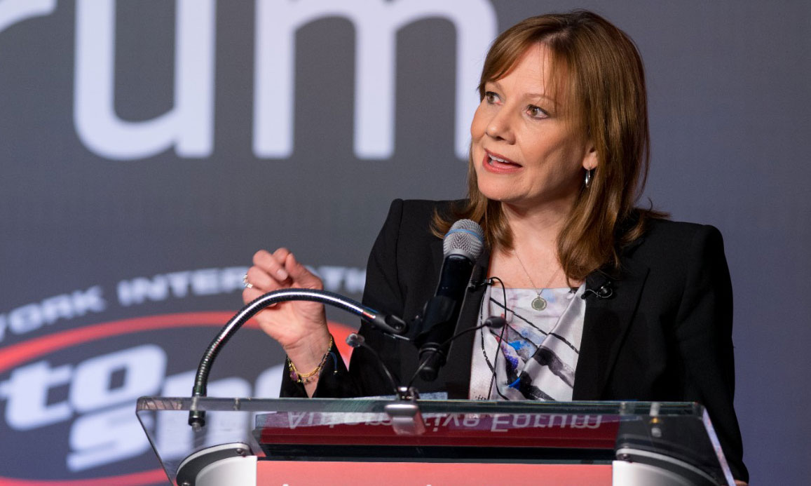 GM CEO Mary Barra speaks at the JD Power/NADA Automotive Forum in New York. PHOTO: Steve Fecht for General Motors