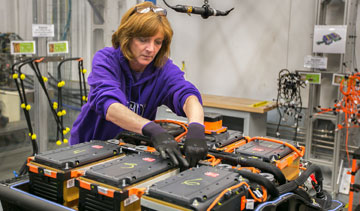 The lithium-ion battery system for the 2015 Chevrolet Spark EV is built at GM's Brownstown, Mich., plant. PHOTO GM