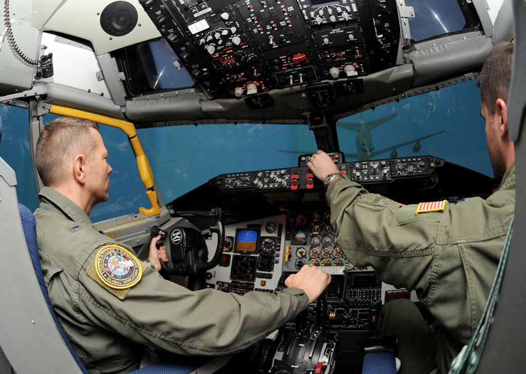 Inside CAE's simulator for the KC-135 Stratotanker, an aerial refuelling aircraft. PHOTO: CAE