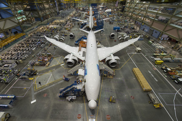 Boeing produces the 787 at its plant in Everett, Wash. PHOTO Boeing