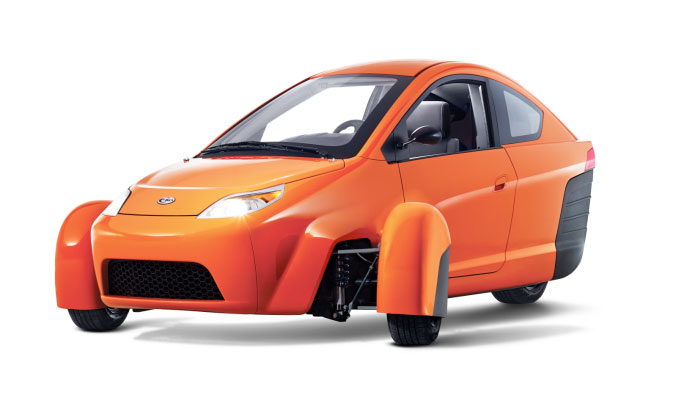 The Elio is powered by an inline 3 cylinder, .9 liter, 55 HP, fuel-injected, SOHC gas-powered, liquid-cooled engine. PHOTO: Elio Motors