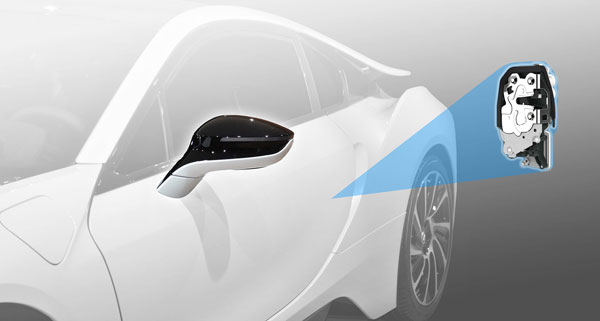 The BMW i8 plug-in hybrid sports car features side mirrors with hidden turn signals and an electronic side-door latch system developed by Magna. PHOTO Magna