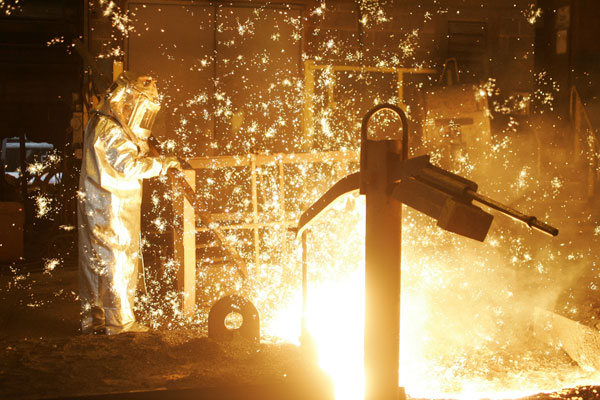 A blast furnace is tapped at one of U.S. Steel's operations. PHOTO U.S. Steel