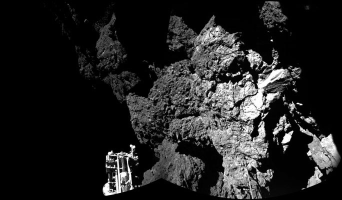 The Philae lander on the 67P/Churyumov-Gerasimenko comet. PHOTO ESA