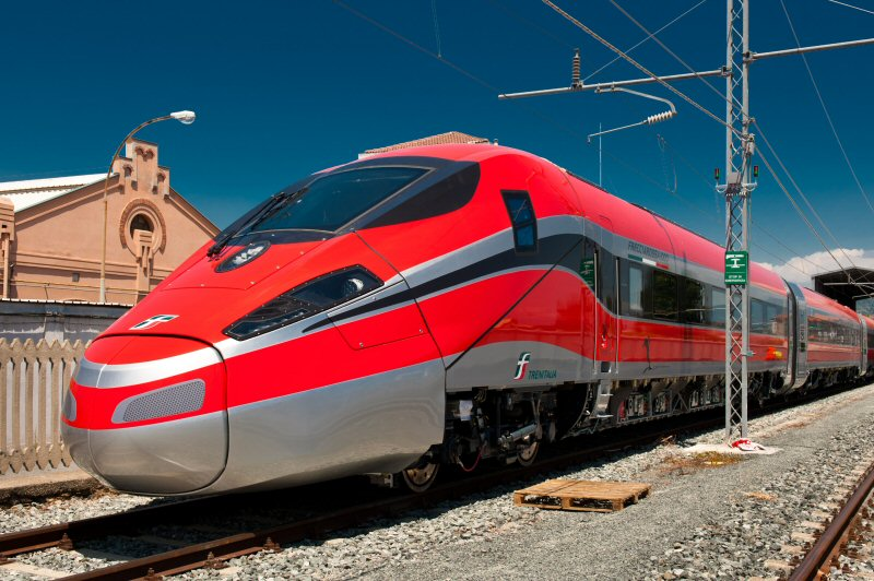 Bombardier's  Frecciarossa 1000 has a top commercial speed of up to 360 km/h, making it the fastest train in Europe