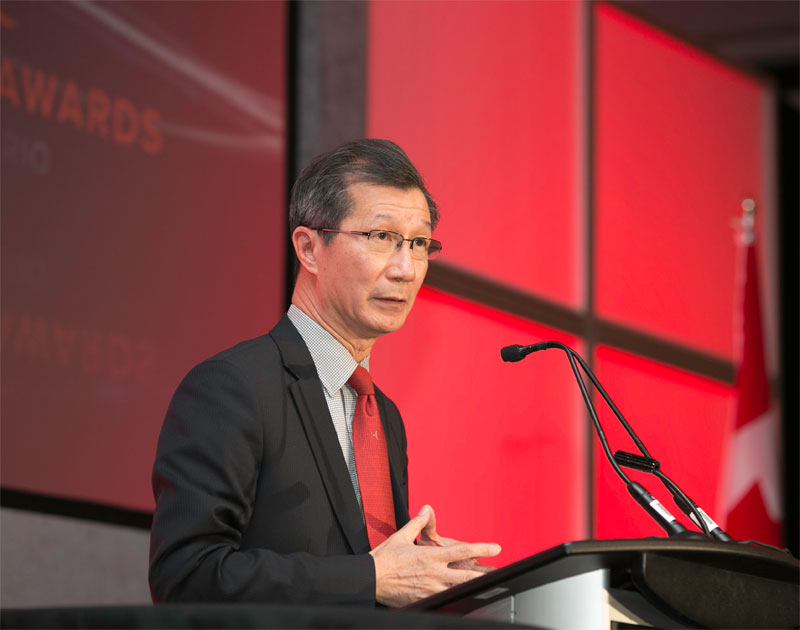 Minister of Citizenship, Immigration and International Trade Michael Chan speaking at the Ontario Export awards in Mississauga Nov. 25, 2014.