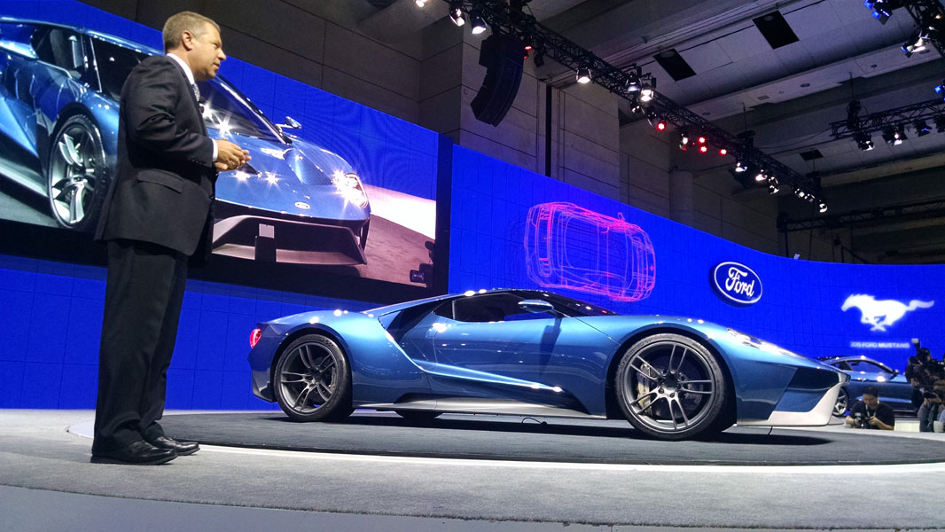 Ford president of the Americas Joe Hinrichs introduces the new GT supercar at the Canadian International AutoShow in Toronto. PHOTO Dan Ilika