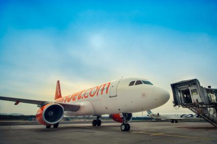 ljubljana april 20 easyjets airplane taxiing to the passange