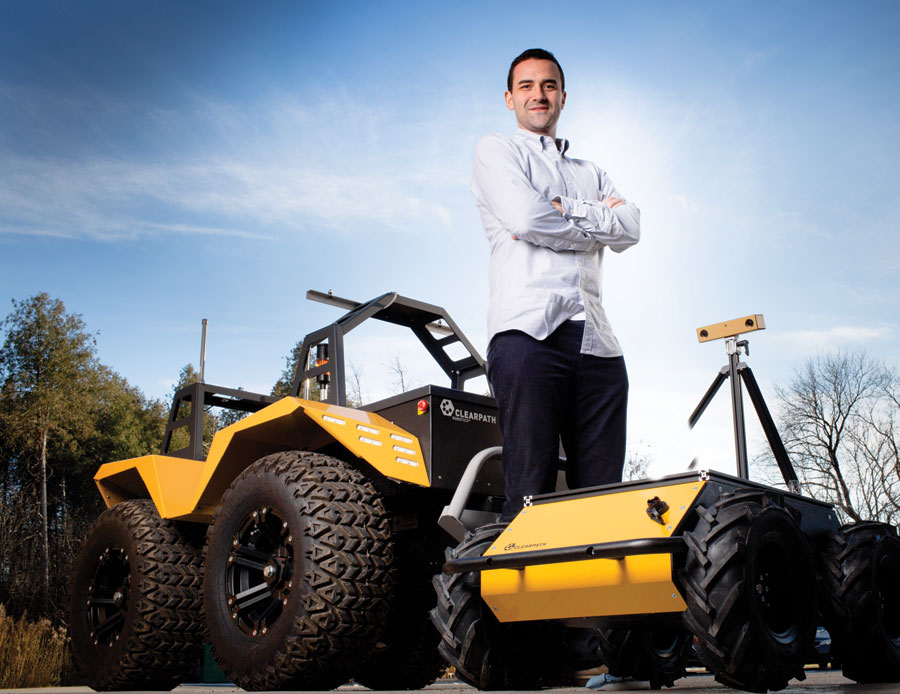 Matt Rendall, CEO of Clearpath Robotics, is trying to take over the world one robot at a time. PHOTO: Yves Lacombe