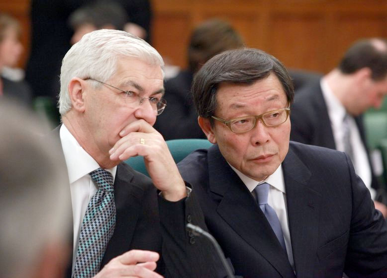 Ray Tanguay (Left),  former president of Toyota Motor Manufacturing Canada and Yoshi Inaba, President and COO, Toyota Motor North America. PHOTO: Toyota Canada Inc.