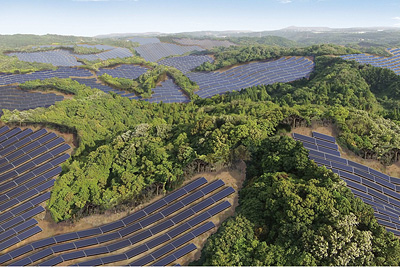 Rendering of the Kagoshima Prefecture site converted into a solar plant. PHOTO Kyocera Corporation
