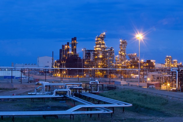 Nexen's Long Lake facility in the early evening. PHOTO: Courtesy of Nexen