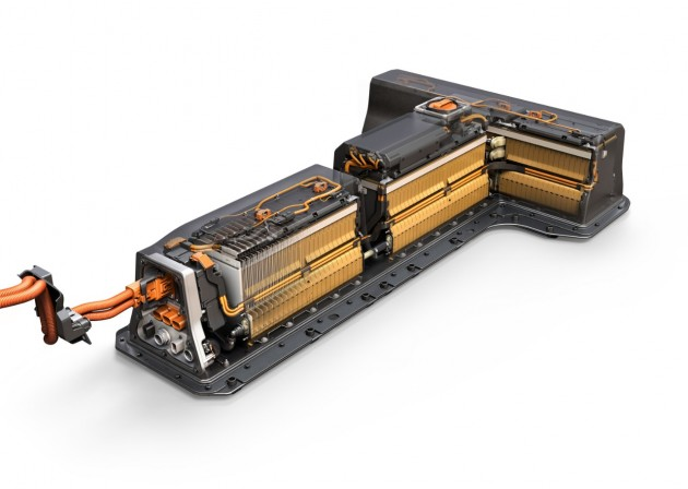 The second-generation Chevrolet Volt uses an all-new battery system that maintains its signature t-shape configuration but uses nearly 100 fewer cells. The battery system will provide improved range while weighing 30 lbs. less than the previous battery system, the company says. PHOTO: General Motors