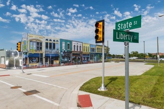 Mcity street, complete with road signs and building facades. PHOTO: U-M Mobility Transformation Center