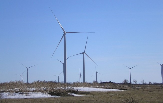 Wind turbines on nearby Wolfe Island, outside Kingston, Ont. Amherst Island is located approximately 15 kilometers west of Wolfe Island. PHOTO: Santryl, via Wikimedia Commons