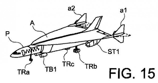 Airbus's hydrogen-powered hyper-sonic plane would be capable of flying at speeds up to mach 4.5. PHOTO: Airbus Group/U.S. Patent and Trademark Office