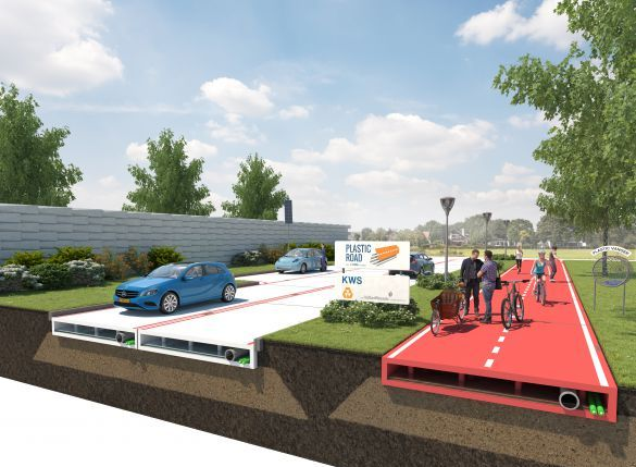 VolkerWessels says its plastic road design would be made of entirely recycled materials and have a lifespan up to three times greater than conventional roads. PHOTO: VolkerWessels