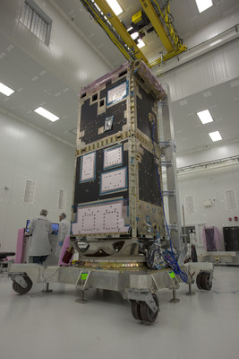 Modal test for the RADARSAT Constellation Mission being completed at Magellan Aerospace's advanced satellite integration facility in Winnipeg. PHOTO: Magellan