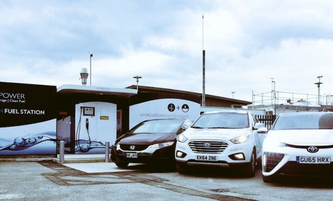 The company's new facility in the UK with Hyundai, Toyota and Honda's fuel cell vehicles. Many of the major automakers are beginning to produce hydrogen-powered cars.  PHOTO: ITM Power