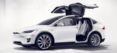 The Model X has Falcon Wing rear doors with built in sensors for opening in garages of any height. PHOTO: Tesla Motors