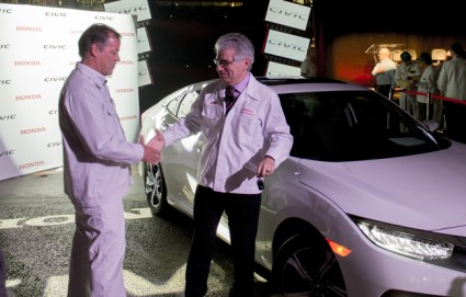 Honda Canada Mft. president, Dan Smith, and Honda Canada Inc. CEO, Jerry Chenkin, at the 2016 Honda Civic production launch in Alliston, Ont. PHOTO: David Kennedy