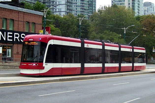 Toronto's new streetcars. Of the 67 scheduled to be in operation by Oct. 2015, Bombardier has delivered only 10. PHOTO: Robert Taylor, via Wikimedia Commons