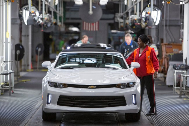 A 2016 Camaro on the assembly line at Lansing Grand River Assembly. PHOTO: Jeffrey Sauger for Chevrolet