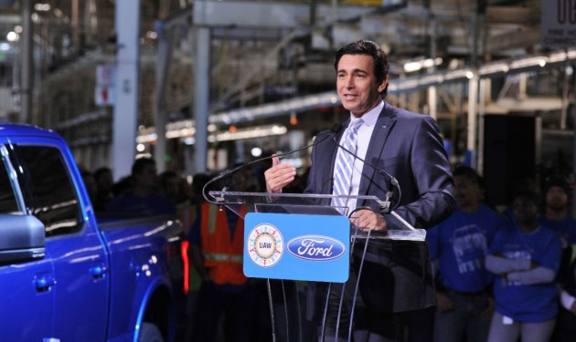 Ford Motor Co. CEO Mark Fields dedicates a new F-150 production line in Dearborn Mich. PHOTO: Ford Motor Co.