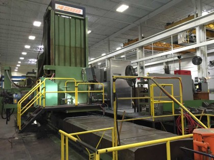 """One of the company's """"workhorses."""" The approximately 30-year-old Mecof M300 is used in the roughing operation. PHOTO: Magna"""