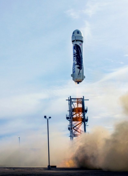 Blue Origin launched and landed the world's first fully-reusable rocket from its launch site in West Texas. PHOTO: Blue Origin
