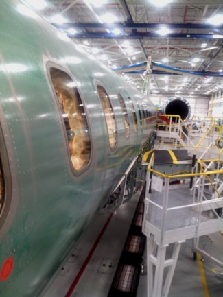 The unfinished exterior of Flight Test Vehicle One. Bombardier plans to build five Global 7000 testers. PHOTO: David Kennedy
